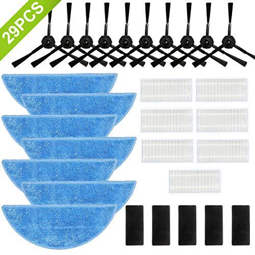 Zubehör für ILIFE Saugroboter V3 V3S V5 V5S V5S Pro 29 teilig, Ersatzteile für ILIFE Saugroboter ILIFE Zubehör Vakuum Roboter 7*Wischmopp 7*HEPA Filter 5*Klettverschluss 10*Seitenbürste