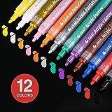 12 Farben Acrylstifte Marker Stifte, Acrylfarbe wasserfest marker Set Art Filzstift Folienstift für Glasmalerei, Stoffmalerei, Rock-Malerei, Keramik, Garten, Leinwand, Fotoalbum, DIY-Handwerk