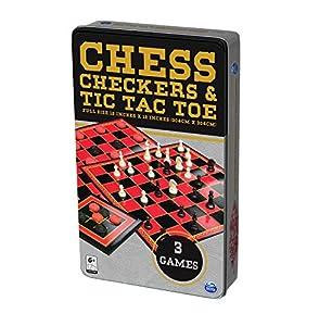 SpinMaster 6036790 Juego de ajedrez, Damas y TTT