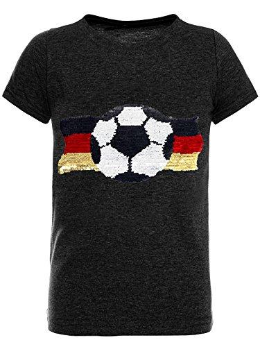 emoji shirt mit wendepailletten BEZLIT Deutschland Jungen Kinder Wende-Pailletten Fussball WM 2018 Fan T Shirt 22513 Anthrazit Größe 104