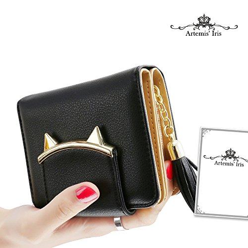 Artemis'Iris Carino piccolo raccoglitore della tasca carte di denaro cambiamento dell'organizzatore del supporto compatto della borsa della frizione breve Con nappa Ciondolo, nero black