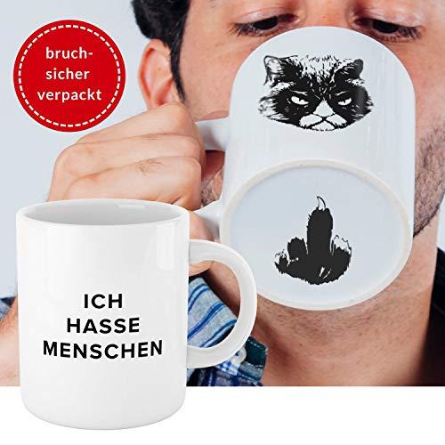 Premium 'Ich hasse Menschen' Tasse mit Katzen-Motiv, bruchsicher verpackt  witzige weiße Kaffee Katzen-Tasse, lustiges Geschenk für Kollegen, Morgenmuffel, Teenager