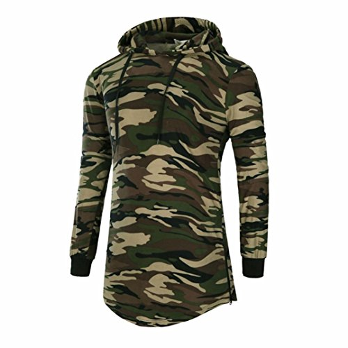 Rcool Herren Hipster Camouflage Hip Hop Longline Pullover Hoodies Shirts Pullover Bluse (M, Mehrfarbig)