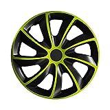 16 Zoll Radkappen QUAD Schwarz-Grün (Farbe und Größe wählbar!)