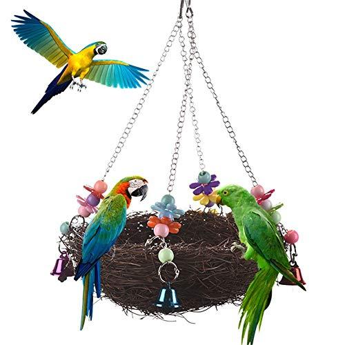 GIVBRO - Altalena per Uccelli in Rattan Naturale con Campanelle per pappagalli, pappagallini, parrocchetti, calopsitte, inseparabili, fringuelli, cacatua, cacatua, trespolo Africano, Grigio