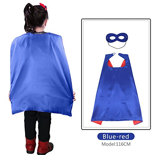 Up Superhero Kostüm Dress - 70 cm X 70 cm Kinder Superhero Kostüme beidseitig Satin Umhang und Maske für Mädchen Fancy Dress Up jede Party gefallen