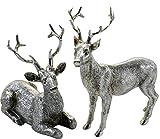 Silberner Hirsch - funkelnder Dekohirsch Figur Landhausstil Weihnachten 10 cm liegend