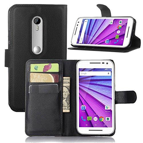 Tasche für Motorola Moto G 3 Generation Hülle, Ycloud PU Ledertasche Flip Cover Wallet Case Handyhülle mit Stand Function Credit Card Slots Bookstyle Purse Design schwarz