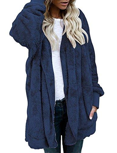 Shallgood Damen Teddy-Take Mantel Kapuzenjacke Baggy Parka Trench Coat Wärme Outwear Dunkelblau DE 34