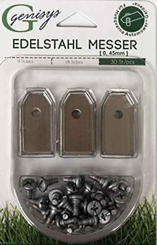 30x Ersatz Messer Klingen für Husqvarna Automower / Gardena Mähroboter (0,45 mm   1,8 g) + 30x ELOXIERTE Schrauben NEU