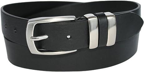 ITALOITALY - Echte Italienische Ledergürtel mit Doppelschlaufe aus Metall, ca. 3,5 cm Breit, Schwarz, Handarbeit, Made in Italy, Unisex, Kürzbar