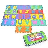 Pink Papaya Puzzlematte Kids ABC, 26 TLG. Puzzlematte für Kinder aus rutschfestem Eva, große Spielmatte zusammensteckbar, jedes Teil 30 x 30 x 1 cm, Kinderteppich zum Puzzeln mit Buchstaben