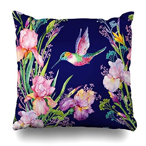 (saletopk Kissenbezug Wiese Aquarell Muster Irisen Blumen klein Kolibri Vogel Natur Vintage Grün Dekokissenbezug 45,7 x 45,7 cm quadratisch Home Decor Kissenbezug)