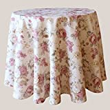 heimtexland ® LANDHAUS Rosen Tischdecke rund in 170 cm aus hochwertigem Jacquard in creme rosé mit Blumen Druck Rose - Garten Country Chic Typ442