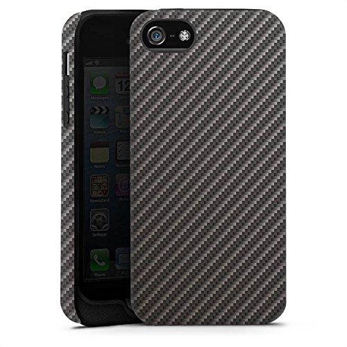 Apple iPhone 5 Housse Outdoor Étui militaire Coque Look carbone Noir gris Métal Cas Tough terne
