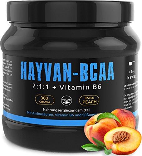 Aminosäuren-rezeptur (GYM - NUTRITION BCAA + VITAMIN B6 | Hochdosiertes Pulver | Leucin | Isoleucin | Valin 2:1:1 | In Deutscher Premium Qualität | Vegan | Geschmack Ice Tea Peach)