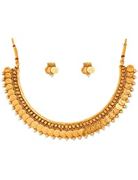 Touchstone Gold Plated Traditional Indian Temple & Coin Necklace Set For Women