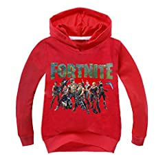 Idea Regalo - Gogofuture Unisex Bambini Felpe con Cappuccio FORTNITE Cartone Animato Stampato Carattere Combat Team Maglietta Manica Lunga Fortnite PVP Bluse Carino Sweatshirt
