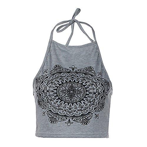 Bellelove Damen-Mandala-Druck ärmelloses Neckholder Tank Crop Tops Weste Bluse T-Shirt