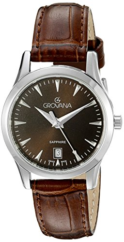 GROVANA 3201.1536 women's quartz Watch with brown Dial analogue Display and brown leather Strap 3201.1536