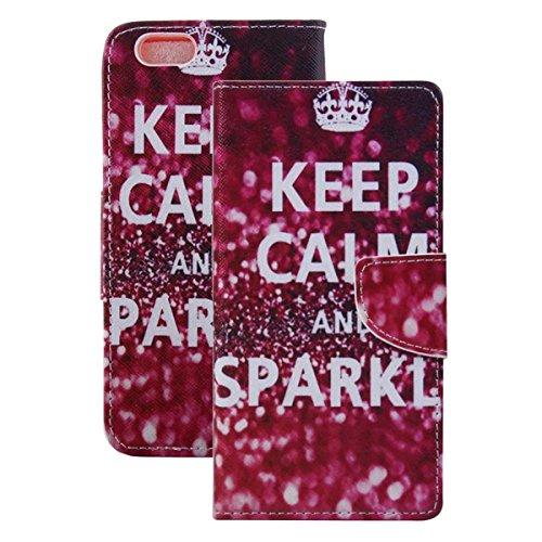 Etche Schutzhülle für iPhone 6S/6 4.7 Zoll Ledertasche,iPhone 6S/6 4.7 Zoll HandyHülle bunt Muster,iPhone 6S/6 4.7 Zoll wallet Schutzhülle, niedlich bunt kreativ hübsch Blumen Flip Cover PU Leder Case Keep Calm