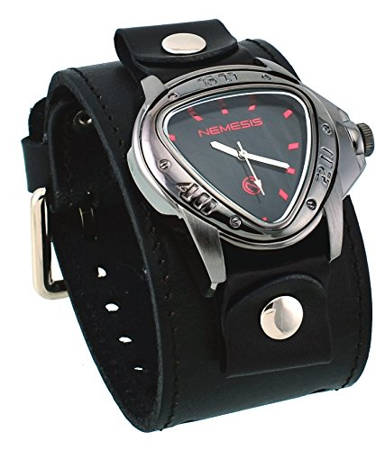 Nemesis #LBB258K Men's Gunmetal Triangular Red Index Black Dial Wide Leather Band Watch