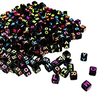 Alphabet Neon Beads - 1000 Pcs A-Z Square Beads Size (5x5mm) Letter Beads Mixed Black Acrylic Plastic Beads for Jewellery making, DIY Bracelets, Necklaces, Key Chains and Kid Jewellery Craft Beads