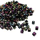 Nero Alfabeto Perline - 1000 Pz (5x5 mm) Lettere Quadrate A-Z Perline per Collane Braccialetti, Giocattoli Educativi per Bambini, Portachiavi e Bambini Gioielli