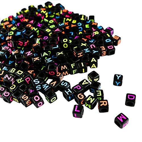 Alphabet Neon Buchstabenperlen - 1000 Stuck (5 x 5mm) Quadratische Acryl-Buchstaben Bunte Perlen für DIY Armband, Halsketten-Herstellung, Kinderschmuck Bastelperlen, Qualitäts-Spaß und Ergebnisse -