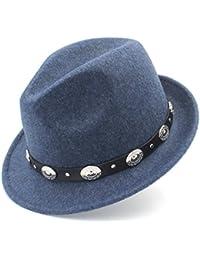565aa18428b 100% Wool Women Men Fedora Hat For Winter Autumn Elegant Lady Dad Trilby  Homburg Church Jazz Caps With Punk Belt Size 56-58CM…