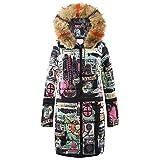 Resplend Daunenjacke mit Graffiti-Print Lange Steppjacke Overcoat Damen-Parka-Mantel mit Kapuze Winter Daunen Baumwolle Outwear Kapuzenmantel aus Kunstpelz