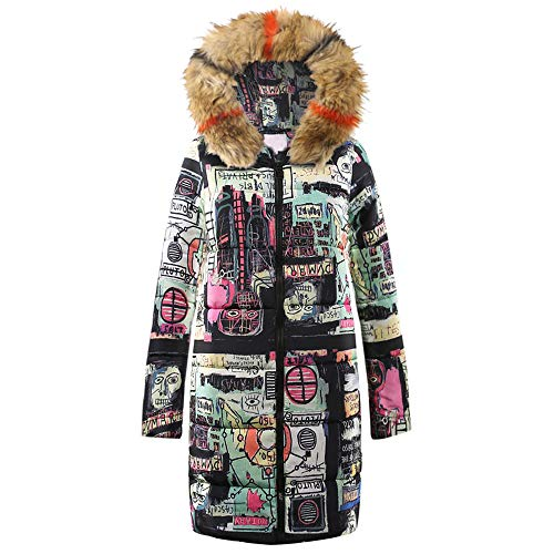 Dorical Damen Warm Daunenjacke Wintermantel Lange Frauen DaunenmantelWinter Warm Drucken Dicker...