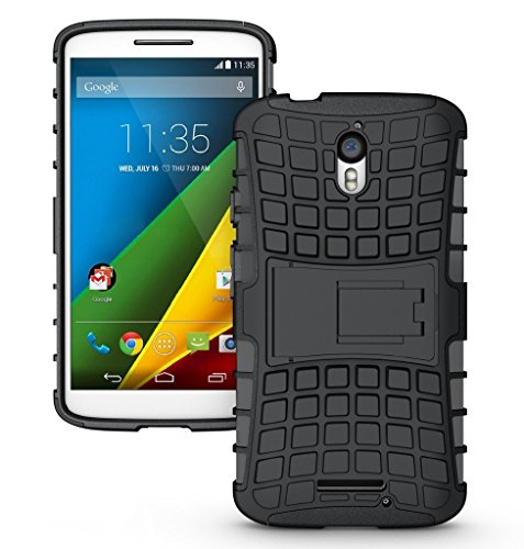 Chevron-Tough-Rugged-Hybrid-Dual-Layer-Protective-Back-Cover-Case-For-Moto-X-Style-Black