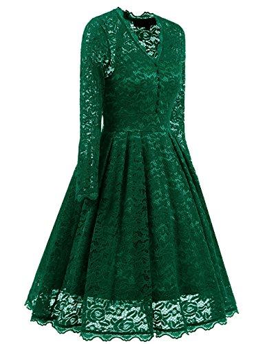 Bright Deer Party Kleider Damen Lange ärmel Evening Dresses Formal Dress Grüne
