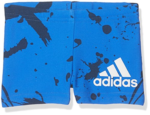 adidas Jungen Graphic Boxer Badehose, Blue/White, 80