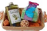 Damen Geschenkset Mediterran 5 tlg. mit Oliven Duschbad und Shampoo, Badepraline Mandarine - Orange, Duschschwamm, Seiftuch 30x30 cm orange im Geschenkkorb