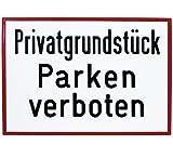 Aluminium Schild Privatgrundstück Parken verboten 250x350 mm geprägt Parkplatz parken