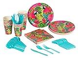 Vajilla desechable – sirve 24 – Suministros para fiestas tropicales para cumpleaños, diseños de loro, incluye cuchillos de plástico, cucharas, tenedores, platos de papel, servilletas, vasos
