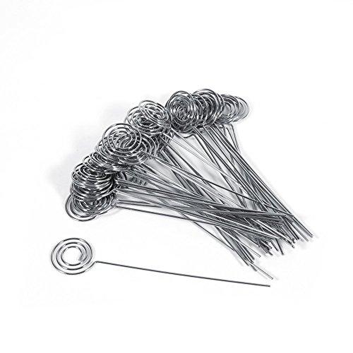 Outflower 10pinzette a bastoncino con estremità rotonda in metallo per portafoto fai-da-te per biglietti o foto con fissaggio a spirale a
