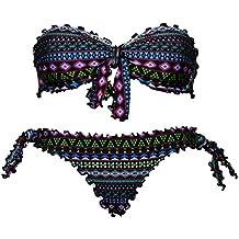 Bikini Geometrico Faraon donna a fascia arricciato con slip o brasiliana Bikinicolors | Made in Italy