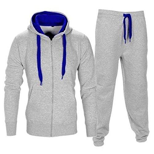 Männer Kontrast Cord Fleece Full Zip Up Hoodie Anzug Gym Jogginganzug Joggers Grey &Blue