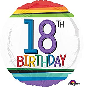 Amscan International 3443201 - Globos de Papel de Aluminio (18 cumpleaños), diseño de arcoíris