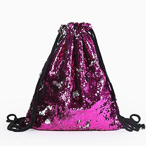 Kordelzug Rucksack Tasche, Magic Sequin Reversible Rucksack Strandtasche Outdoor Fitness Sporttasche Kordelzug Glitzernde Tanztasche für Geburtstagsfeier bevorzugt Geschenke ( Color : Rose red )