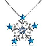 City Ouna® collier bleu pour femmes filles Long Snowflake Sweater chaîne bijoux hiver avec zircon cubique cadeau de Saint Valentin,Merci donner jour,cadeau de Noël...