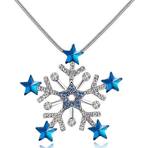 City Ouna Blau Halskette für Frauen Mädchen lange Schneeflocke Sweater Kette Mode Winter Schmuck mit Zirkonia Valentinstag Geschenk,danke geben Tag,Weihnachtsgeschenk,Monther's Day (Tiffany Armband Box)