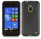Cadorabo - Custodia silicone TPU Nokia Lumia 620 Design: METALLO SPAZZOLATO brushed - Case Cover Involucro Bumper Astuccio in NERO-PROFONDO