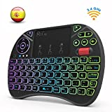 (Nueva versión 2018) Rii X8 Mini teclado inalámbrico, Teclado retroiluminado con pantalla táctil 2.4GHz y Rueda de Scroll, dispone de 8 cambios de color ,Control remoto de mano, para Raspberry Pi 2/3, KODI, XBOX 360, Android TV Box, HTPC, Windows 7 8 10