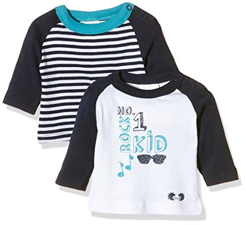 Twins Baby-Jungen Langarm T-shirts im 2er Pack, Mehrfarbig (Weiss/Marine 810012), 56