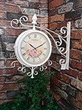 Zweiseitige Gartenuhr / Bahnhofsuhr - Romantisch - Mit Wand-Halterung - 37 cm