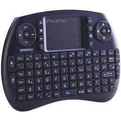 iPazzPort Mini Clavier sans Fil, 2.4 GHz Mini Clavier avec Touchpad, Batterie Rechargeable Lithium Clavier pour Smart TV, Mini PC, HTPC, Android, Windows, Linux, Console, Ordinateur